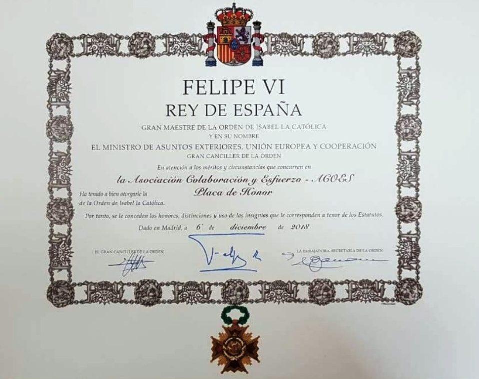 Acoes y Patricio reciben la placa de honor de la orden de Isabel la Católica
